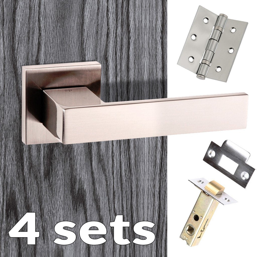 Four Pack Senza Pari Panetti Lever on Flush Rose - Satin Nickel Handle