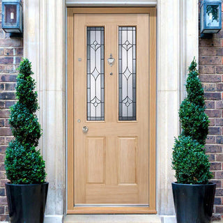 Image: Part L Compliant Exterior Salisbury Oak Door - Warmerdoor Style.