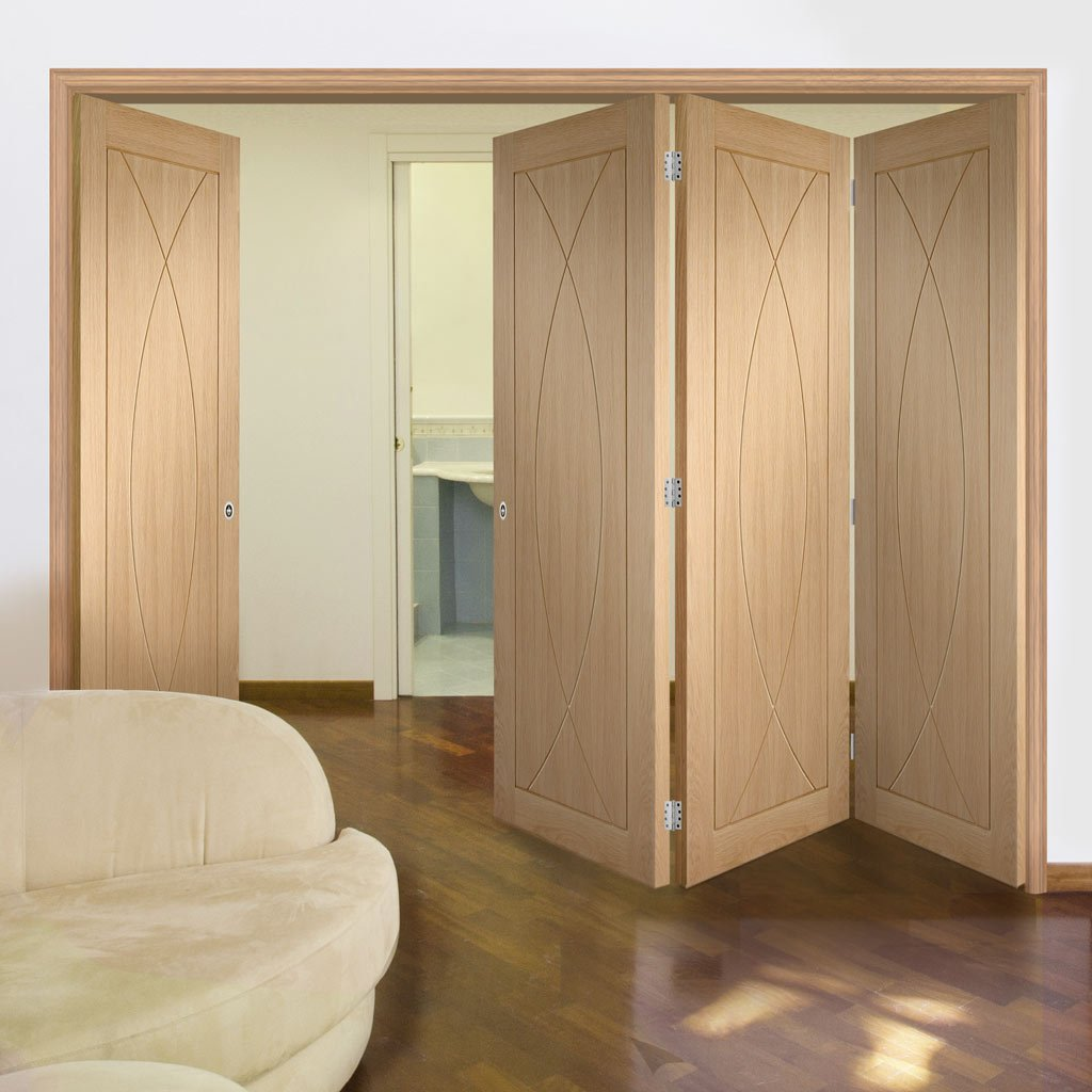 Four Folding Doors & Frame Kit - Pesaro Oak Flush 3+1 - Prefinished