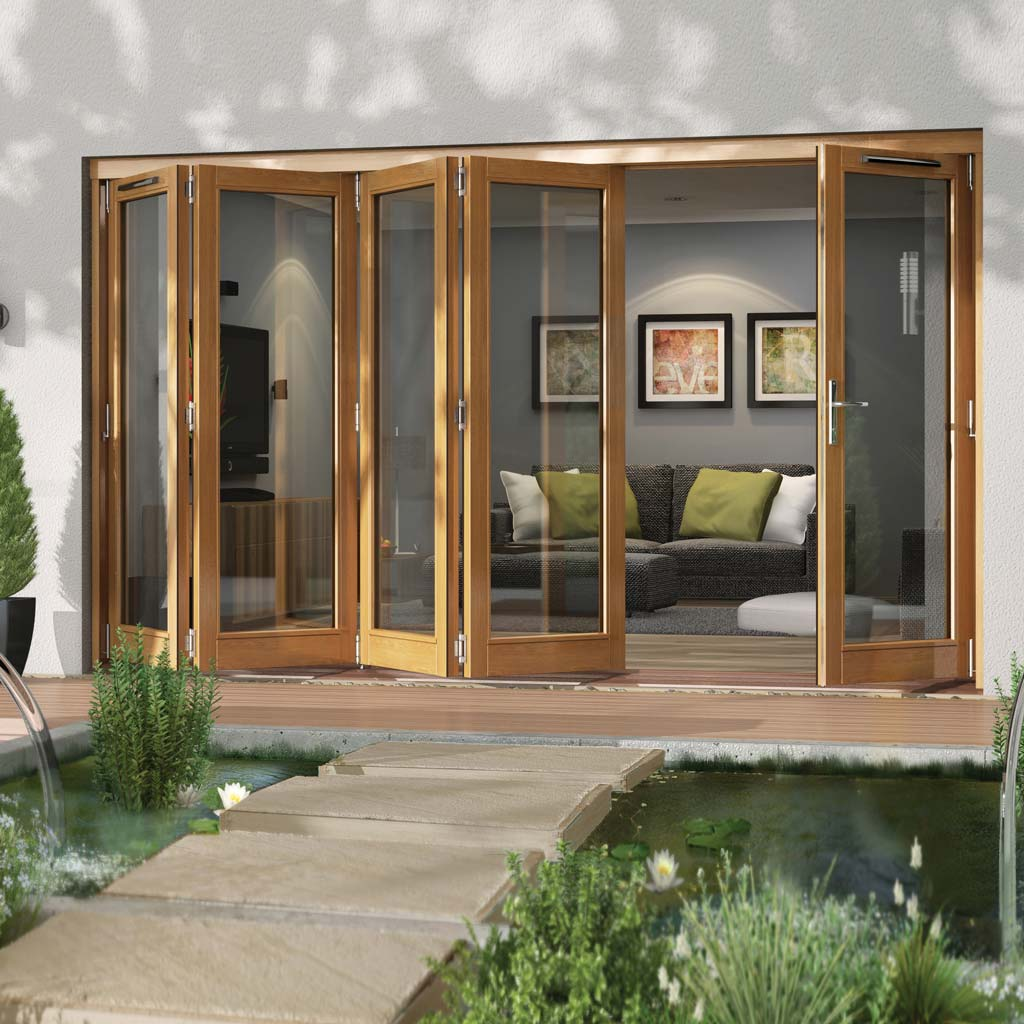 Jeld-Wen Canberra Stained Oak Fold and Slide Solid Patio Doorset, OCAN36 4L1R, 4 Left - 1 Right, 3594mm Wide