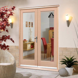 Image: EXTERIOR Hemlock Full Pane Door Pair - Fit Your Own Glass