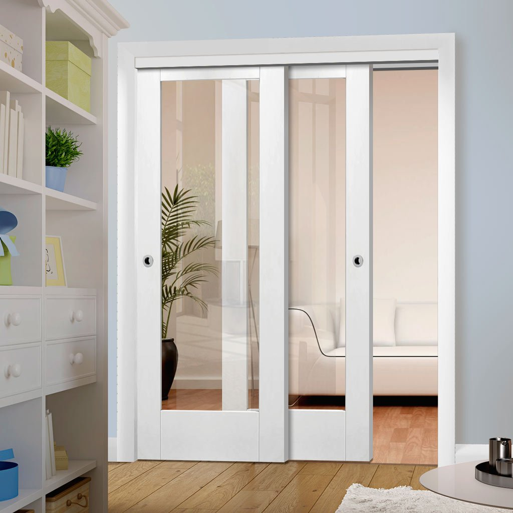 Two Sliding Doors and Frame Kit - Pattern 10 1 Pane Door - Clear Glass - White Primed