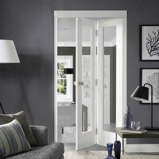 Image: Pattern 10 Bifold - Clear Glass - White Primed