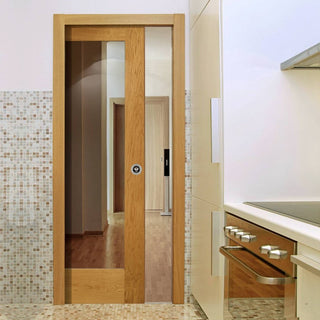 Image: Pattern 10 Oak 1 Pane Single Evokit Pocket Door - Clear Glass
