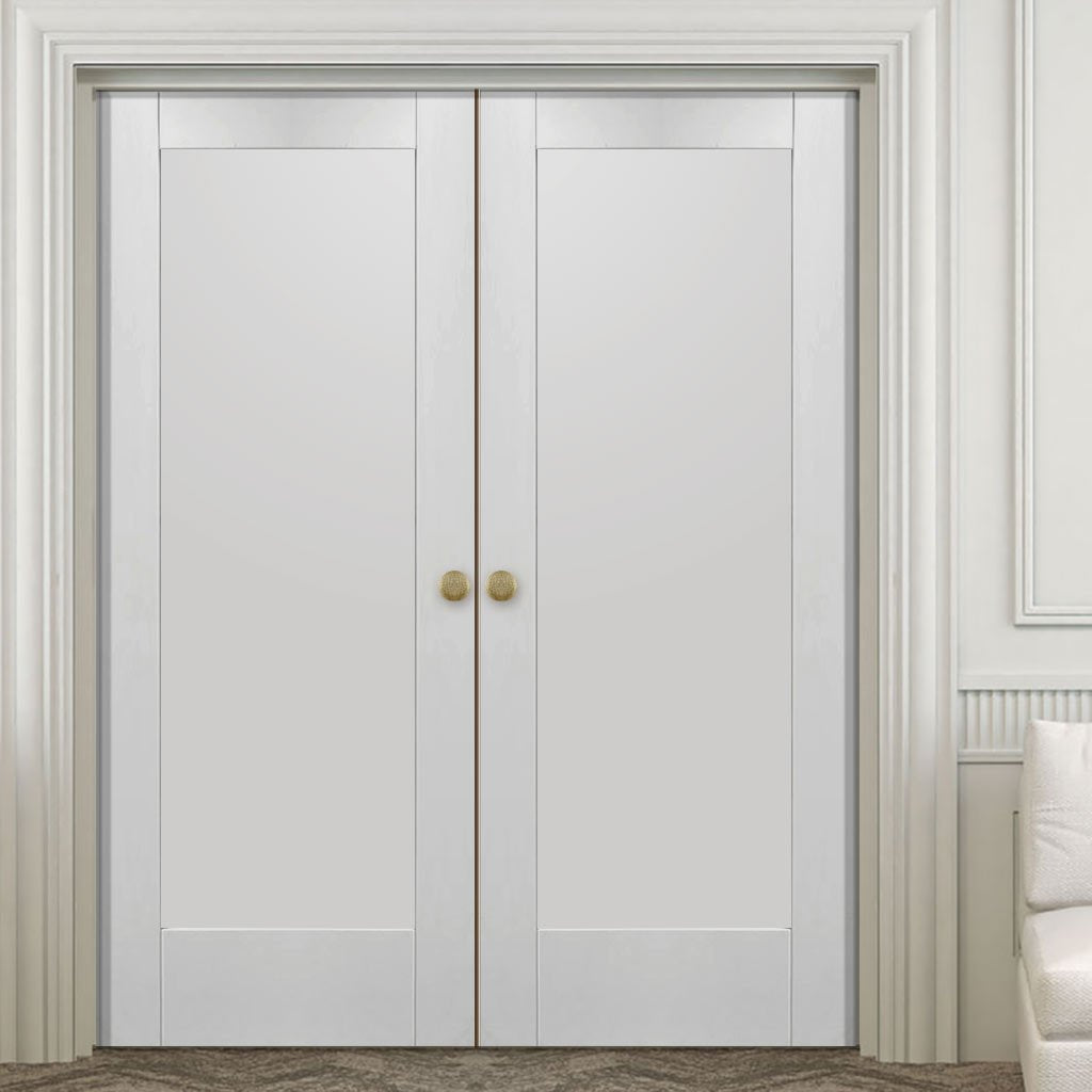 Bespoke Pattern 10 Fire Door Pair - 1/2 Hour Fire Rated - White Primed