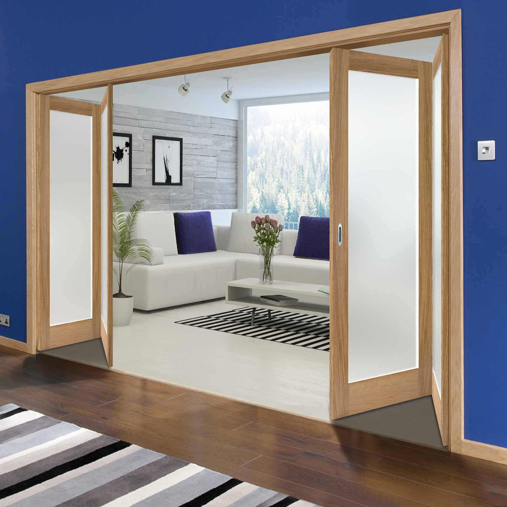 Four Folding Doors & Frame Kit - Pattern 10 Oak 2+2 - Frosted Glass - Unfinished