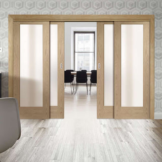 Image: Thruslide Pattern 10 Shaker Oak - 4 Sliding Doors and Frame Kit - Obscure Glass