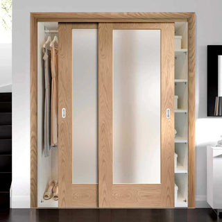 Image: Bespoke Thruslide Pattern 10 1 Pane Oak Glazed 2 Door Wardrobe and Frame Kit - Prefinished