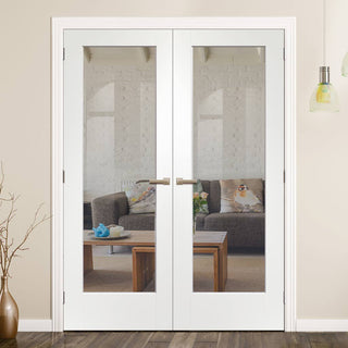 Image: Pattern 10 Full Pane White Primed Door Pair - Clear Glass