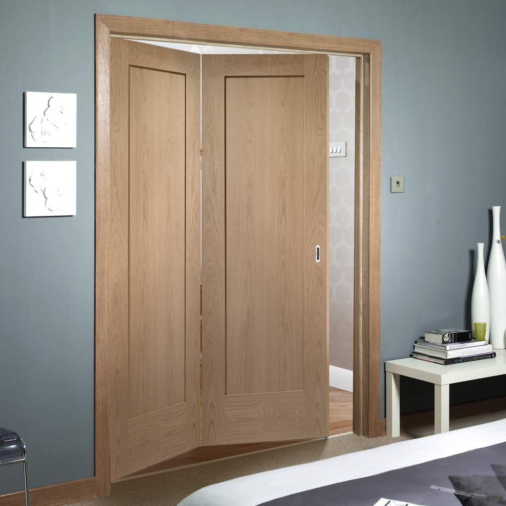 Bespoke Thrufold Pattern 10 Oak 1 Panel Folding 2+0 Door - Prefinished