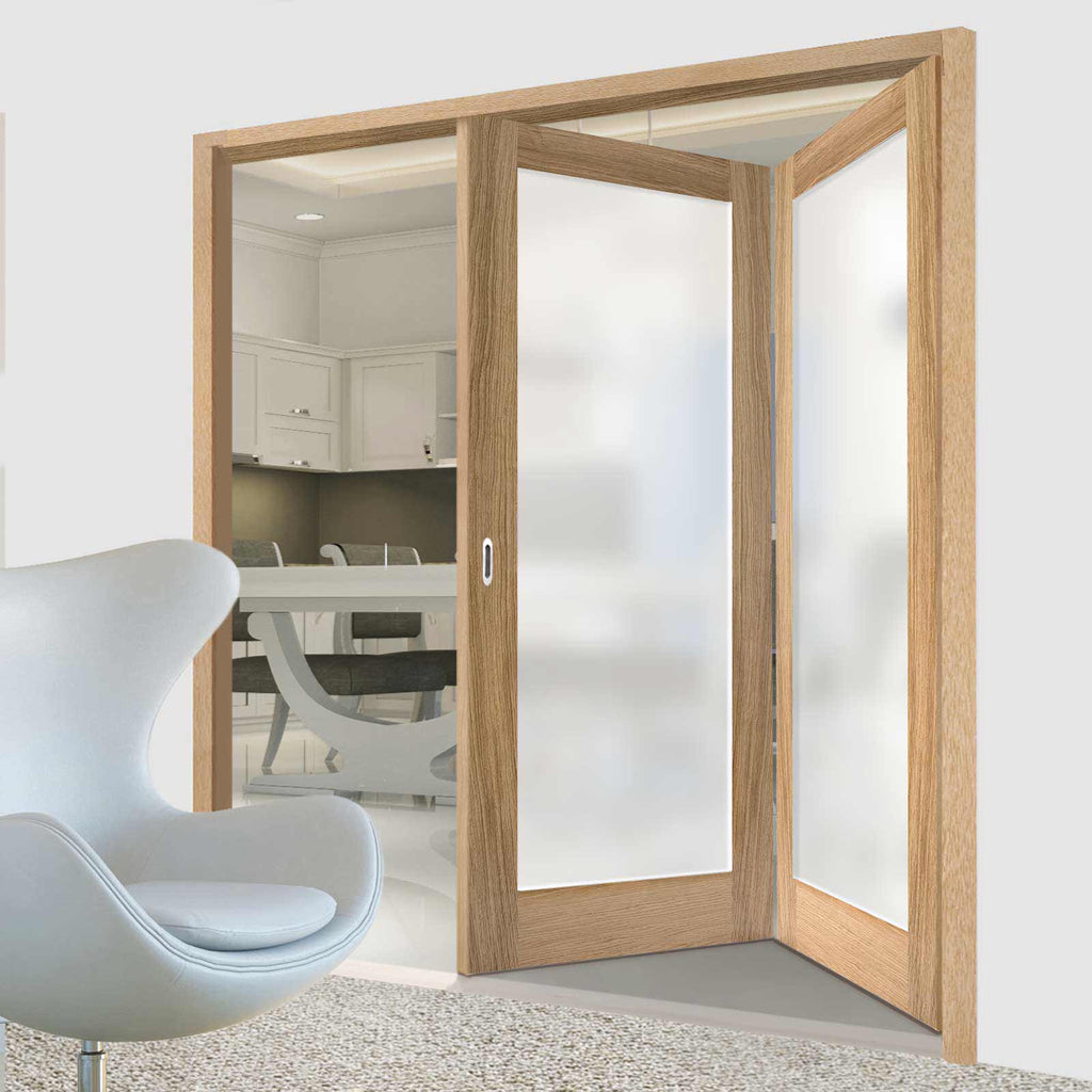 Two Folding Doors & Frame Kit - Pattern 10 Oak 2+0 - Frosted Glass - Unfinished