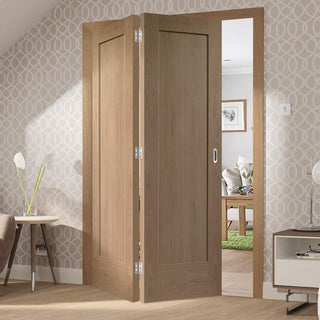 Image: Bespoke Thrufold Pattern 10 Oak 1 Panel Folding 2+0 Door