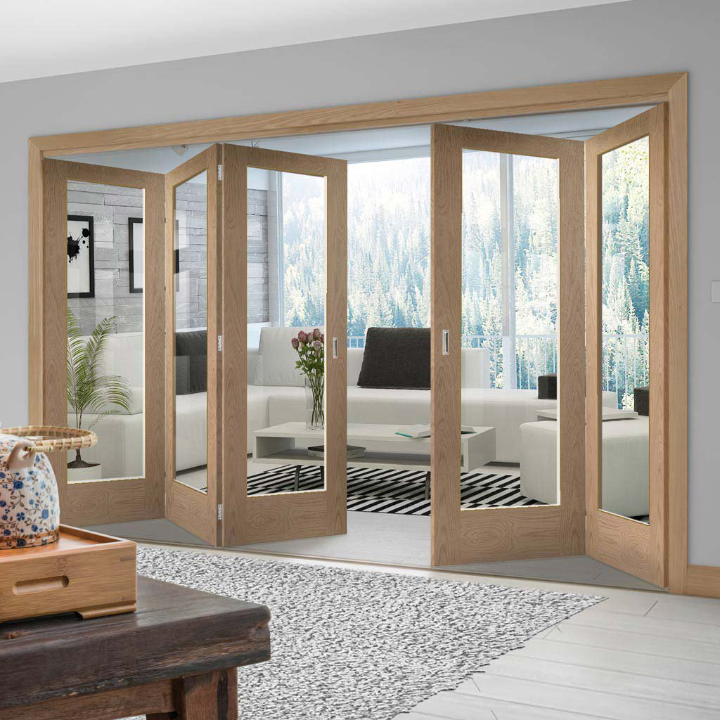 Five Folding Doors & Frame Kit - Pattern 10 Oak 3+2 - Clear Glass - Prefinished