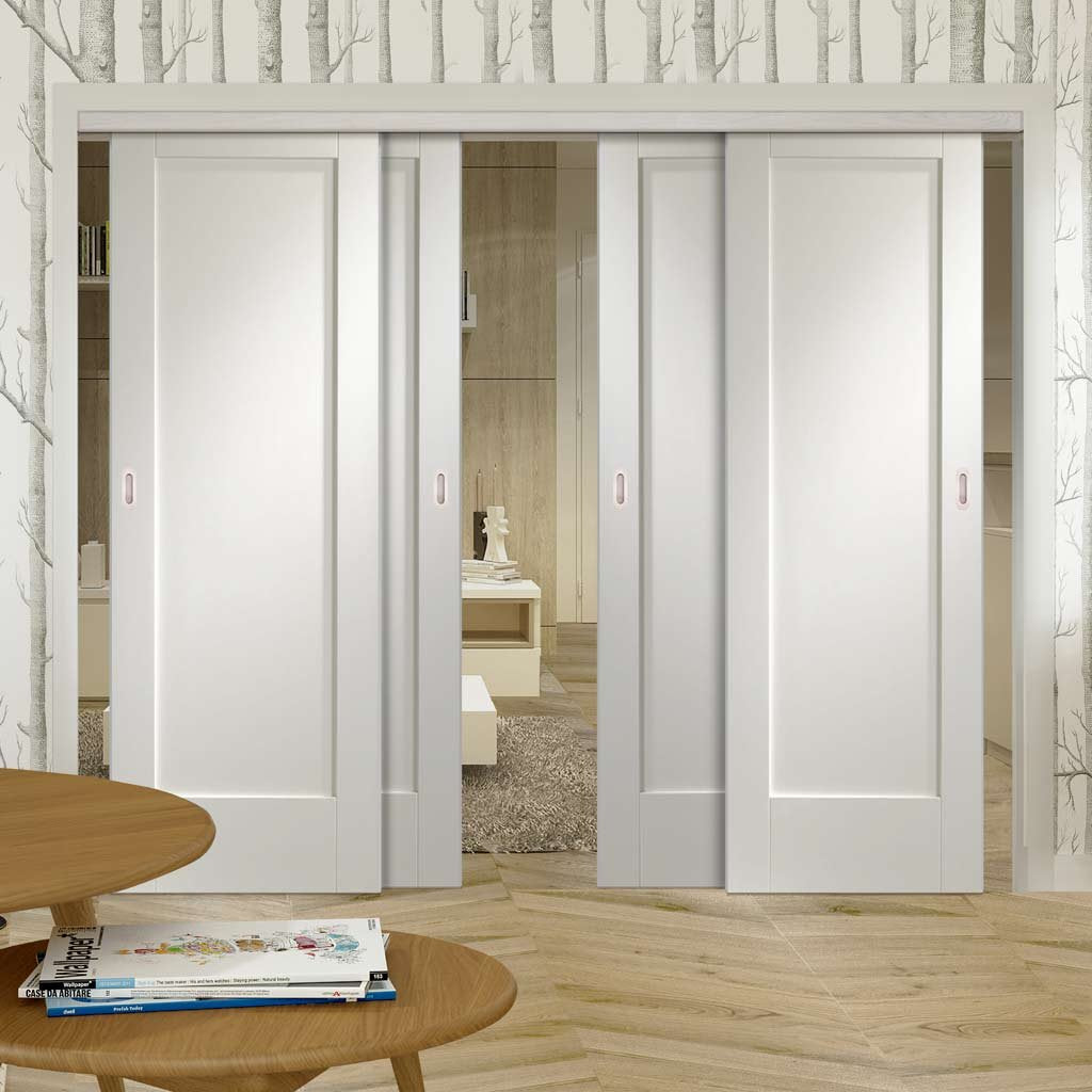 Four Sliding Doors and Frame Kit - Pattern 10 Style 1P Door - White Primed