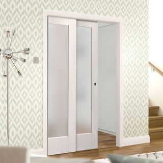 Image: Pattern 10 1L Pane Staffetta Twin Telescopic Pocket Doors - Frosted Glass - Primed