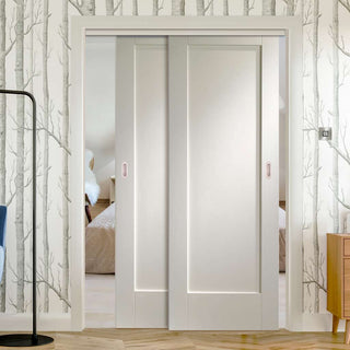 Image: Two Sliding Doors and Frame Kit - Pattern 10 Style 1P Door - White Primed