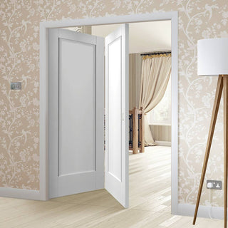 Image: Bespoke Thrufold Pattern 10 1P White Primed Folding 2+0 Door