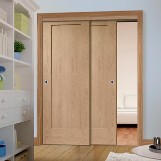 Image: Thruslide Pattern 10 Oak 1 Panel - 2 Sliding Doors and Frame Kit