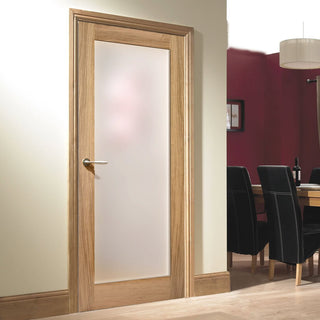 Image: Pattern 10 Oak Door - Full Pane Frosted Glass