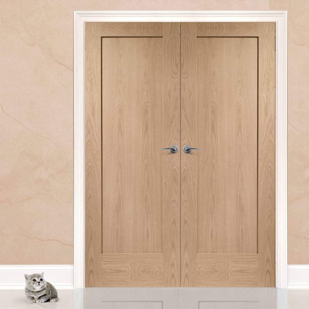 Bespoke Pattern 10 Oak 1 Panel Door Pair