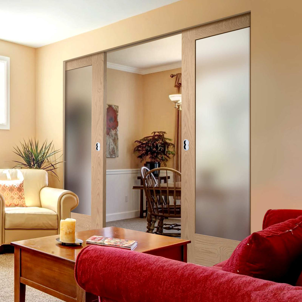 Pattern 10 Shaker Oak Absolute Evokit Double Pocket Door - Frosted Glass