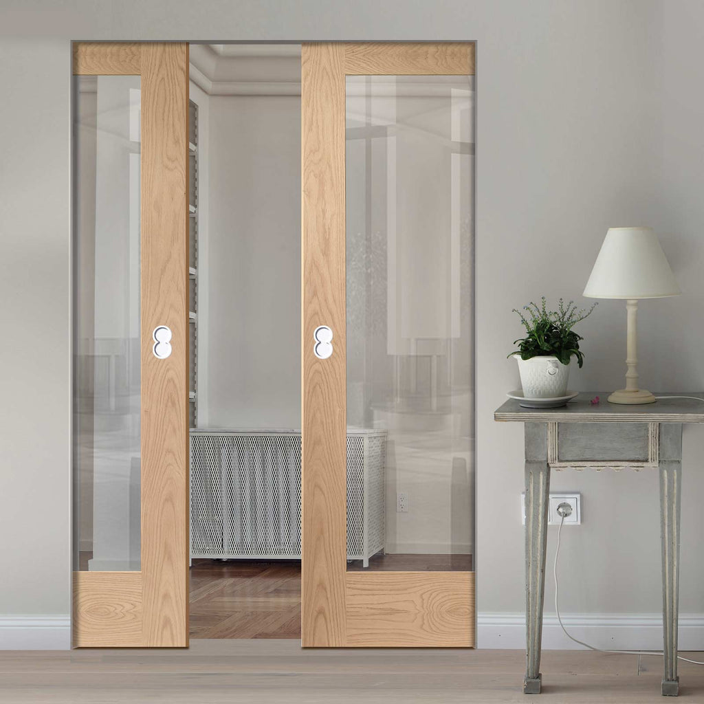 Pattern 10 Oak 1 Pane Absolute Evokit Double Pocket Door - Clear Glass