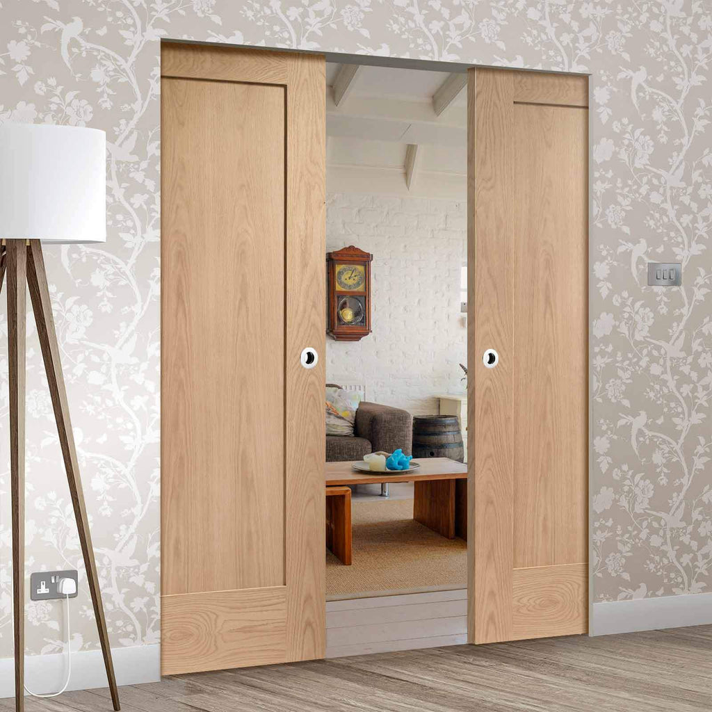 Bespoke Pattern 10 Oak 1 Panel Double Frameless Pocket Door