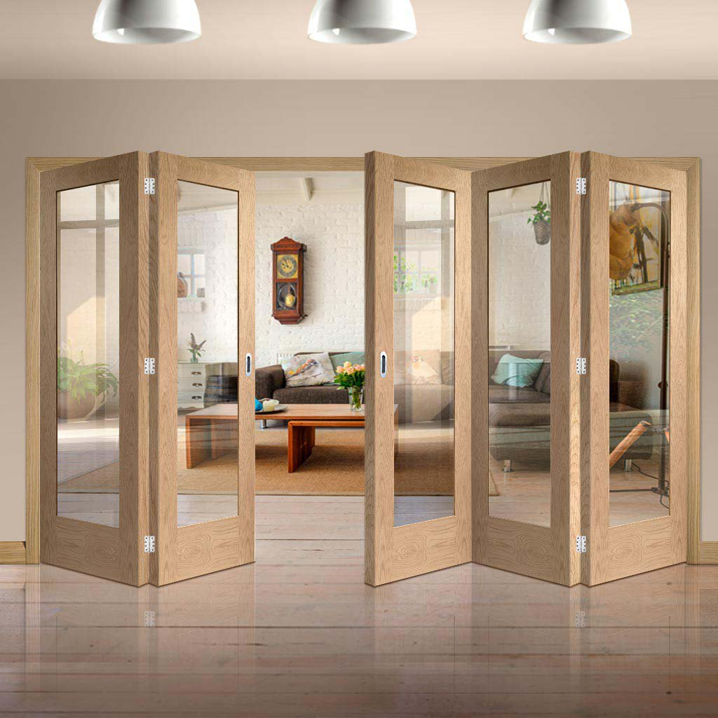 Bespoke Thrufold Pattern 10 1L Oak Glazed Folding 3+2 Door - Prefinished