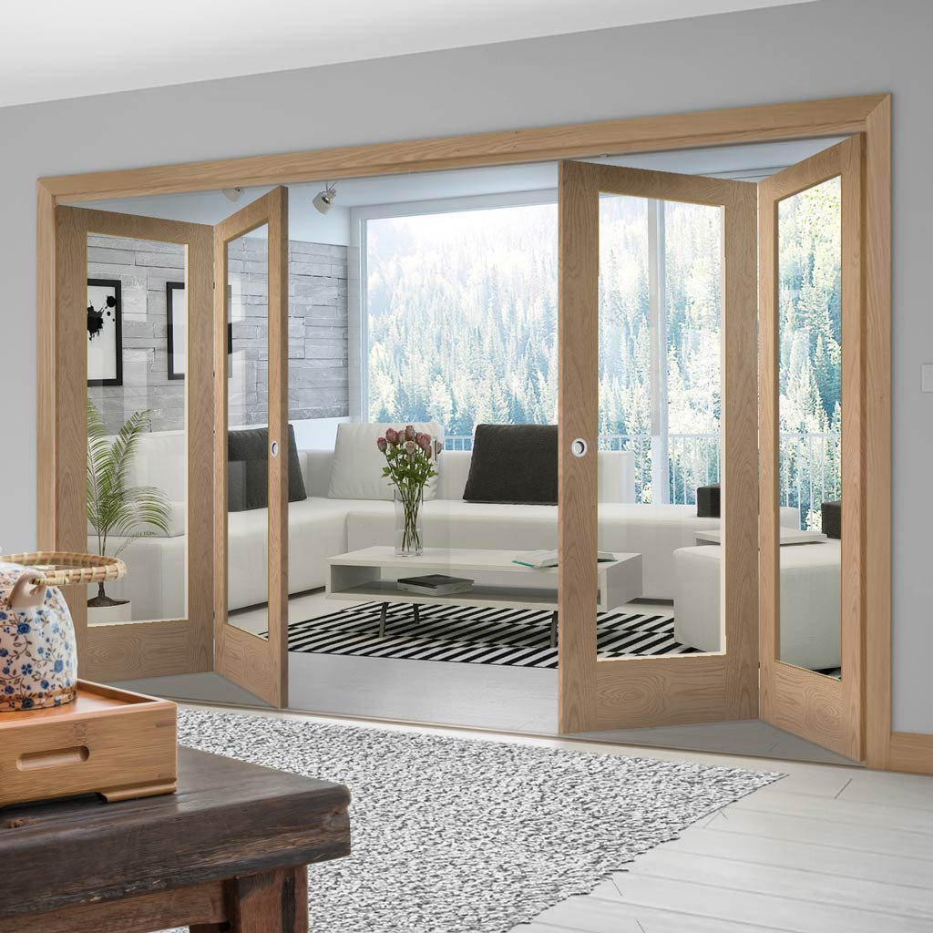 Four Folding Doors & Frame Kit - Pattern 10 Oak 2+2 - Clear Glass - Prefinished