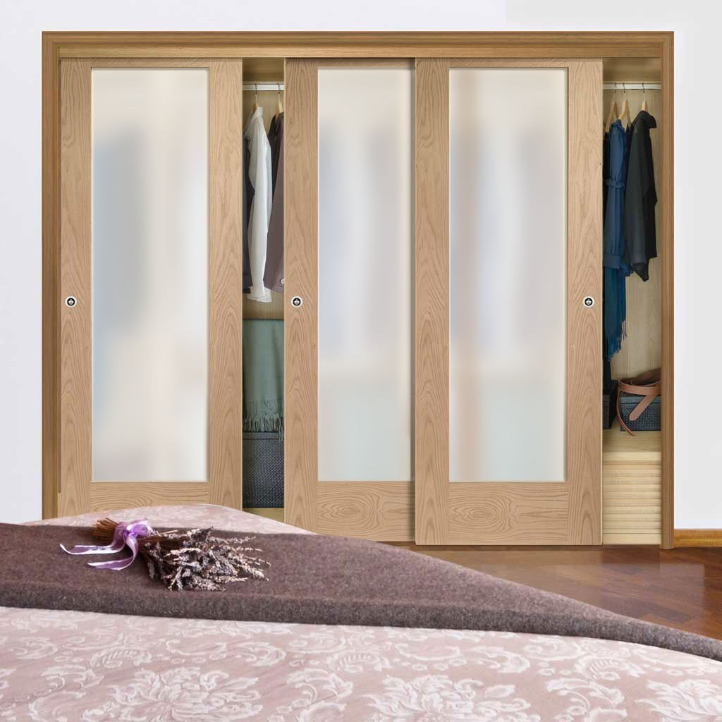 Bespoke Thruslide Pattern 10 1 Pane Oak Glazed 3 Door Wardrobe and Frame Kit - Prefinished