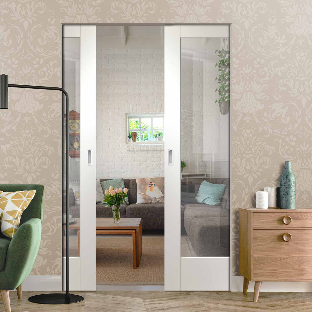 Pattern 10 Absolute Evokit Double Pocket Door - Clear Glass - Primed
