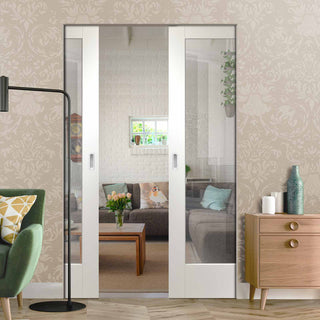 Image: Pattern 10 Absolute Evokit Double Pocket Door - Clear Glass - Primed