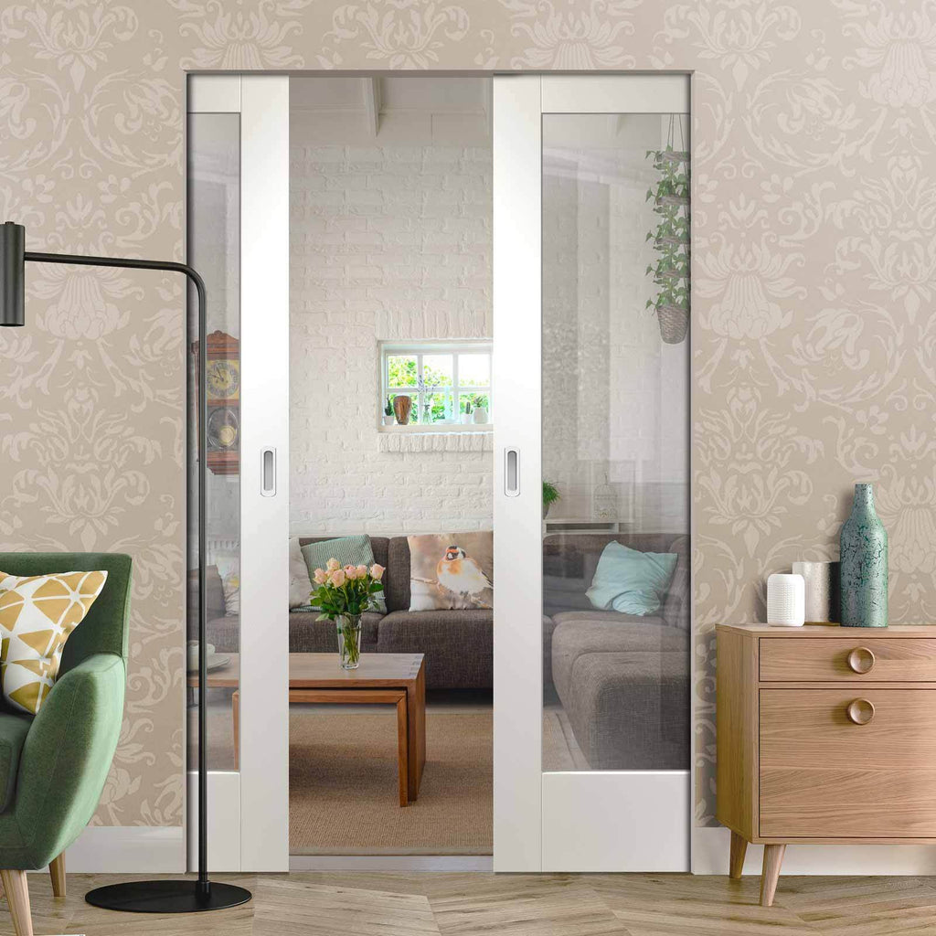 Bespoke Pattern 10 1L White Primed Glazed Double Frameless Pocket Door
