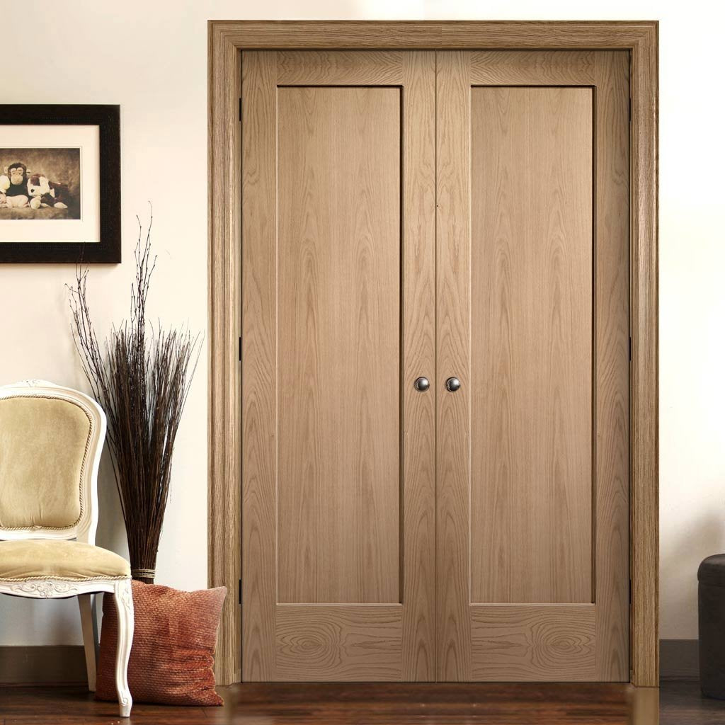 Bespoke Pattern 10 Style 1P Oak Fire Door Pair - 1/2 Hour Fire Rated