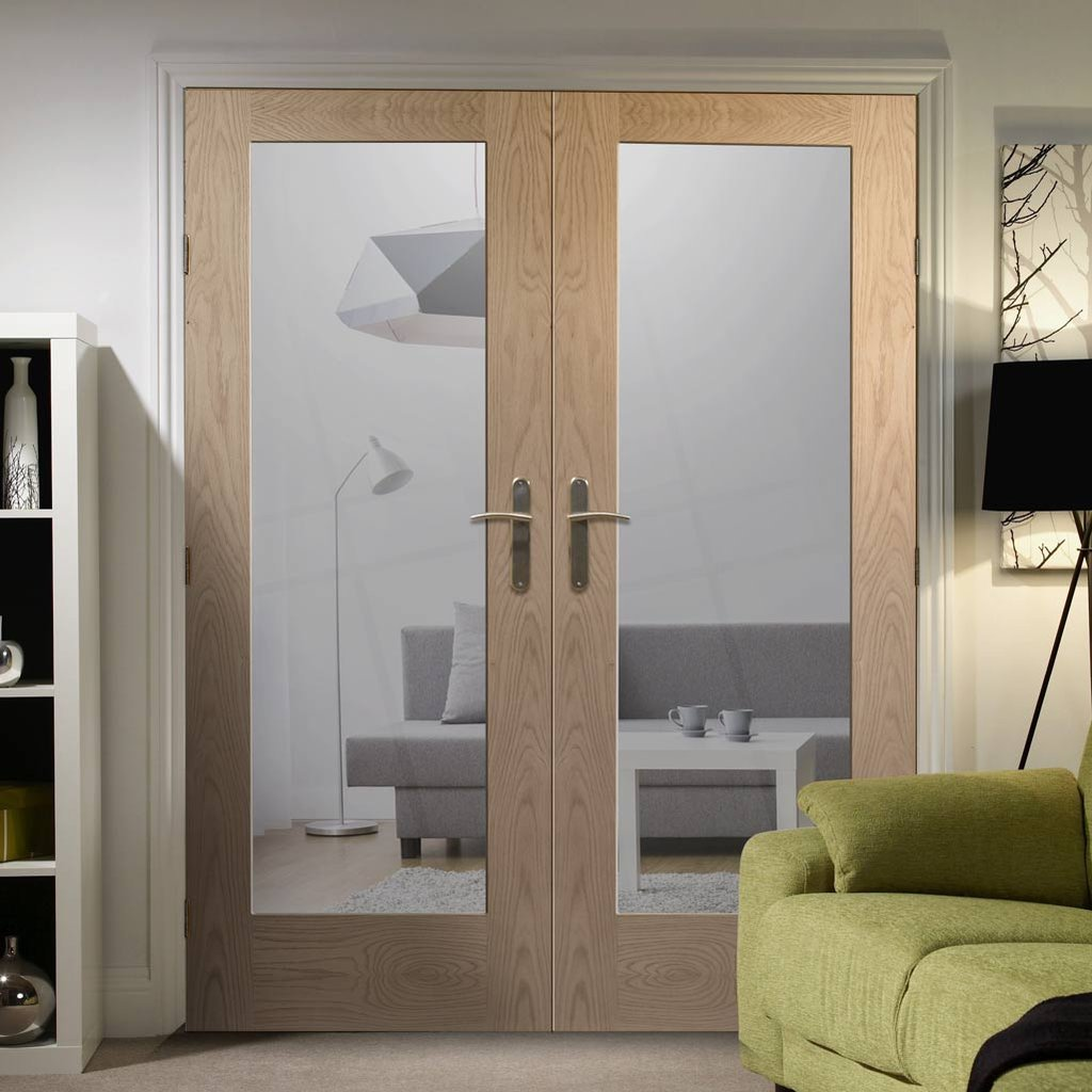 Bespoke Pattern 10 Style Oak Fire Door Pair - Clear Glass - 1/2 Hour Fire Rated