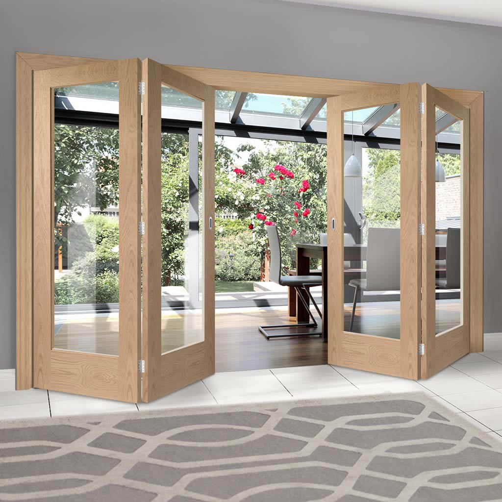 Four Folding Doors & Frame Kit - Pattern 10 Oak 1 Pane 2+2 - Clear Glass - Unfinished