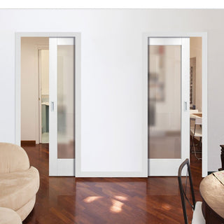 Image: Pattern 10 1L Pane Unico Evo Pocket Doors - Frosted Glass - Primed