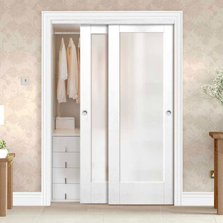 Image: Bespoke Thruslide Pattern 10 1 Pane Glazed 2 Door Wardrobe and Frame Kit - White Primed - White Primed