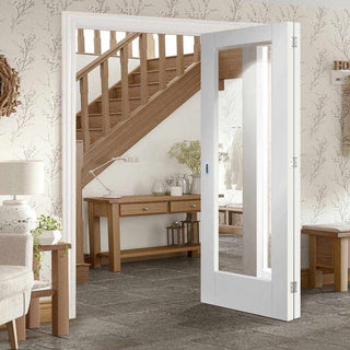 Image: Two Folding Doors & Frame Kit - Pattern 10 Style 2+0 - Clear Glass - White Primed