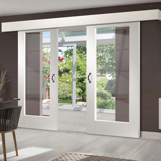 Image: Double Sliding Door & Wall Track - Pattern 10 1 Pane Doors - Clear Glass - White Primed