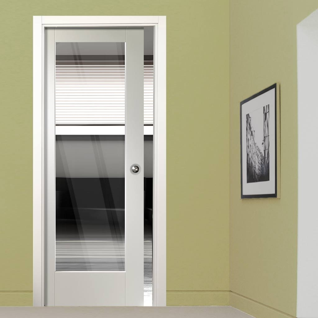 Pattern 10 Single Evokit Pocket Door - Clear Glass - Primed