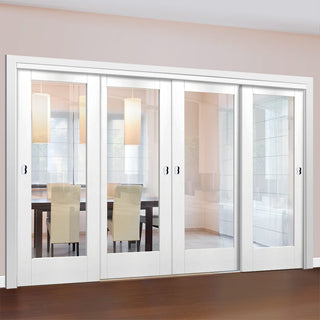 Image: Four Sliding Doors and Frame Kit - Pattern 10 1 Pane Door - Clear Glass - White Primed