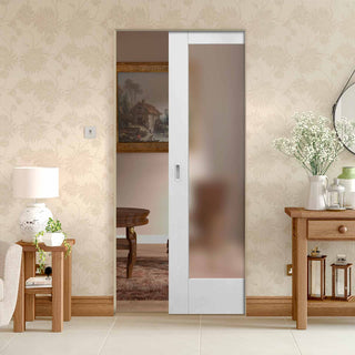 Image: Pattern 10 Full Pane Absolute Evokit Pocket Door - Frosted Glass - Primed