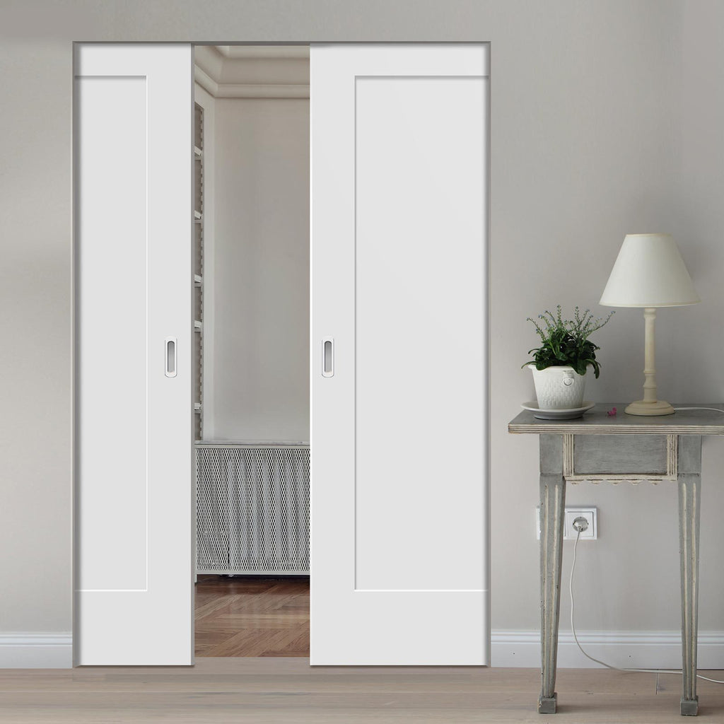 Bespoke Pattern 10 Style Panel White Primed Double Frameless Pocket Door