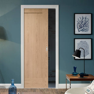 Image: Pattern 10 Oak 1 Panel Single Evokit Pocket Door