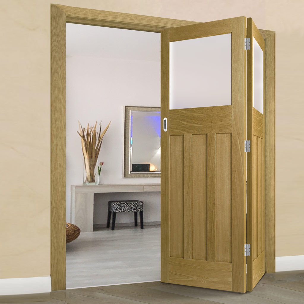 Two Folding Doors & Frame Kit - 1930's Oak Solid 2+0 - Frosted Glass - Unfinished