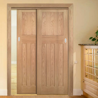 Image: Two Sliding Doors and Frame Kit - Cambridge Period Oak Door - Unfinished