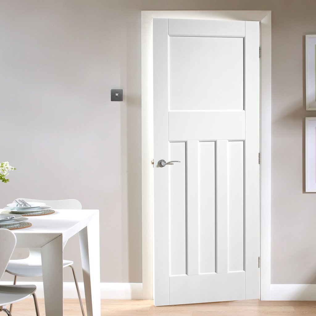 LPD Joinery White Fire Door, DX 30's Shaker Panelled Door - 1/2 Hour Rated - White Primed