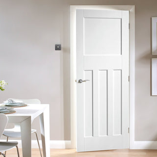 Image: DX 30's Shaker Style White Primed Panelled Fire Door is 1/2 Hour Fire Rated