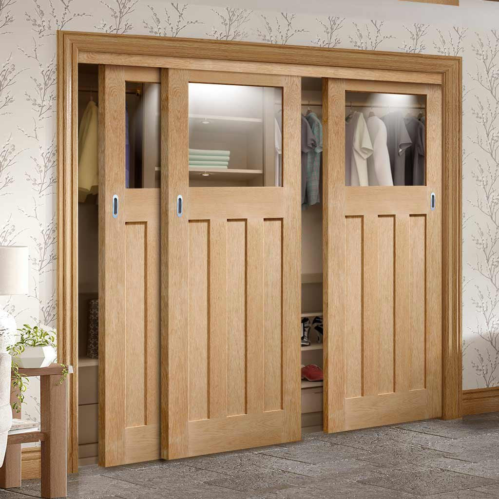 Bespoke Thruslide DX Oak 1930's Glazed 3 Door Wardrobe and Frame Kit